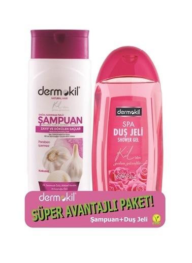 Dermokil Dermokil Sarımsak Şampuan 400 ml + Gül Duş Jeli 500 ml-2'li Avantajlı Set Renksiz